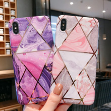 цена на Geometric Luxury Case For iPhone X Marble Phone Case For iPhone XR XS Max 6 6s 7 8 Plus Back Cover Soft TPU Electroplated Coque