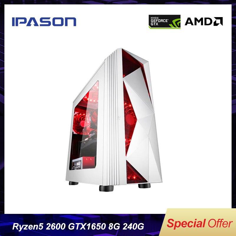 IPASON P81 настольных компьютеров AMD 6-ядерный Ryzen5 2600 консоль для ПК-игр с поддержкой Windows/модернизировать GTX1650 4G/DDR4 8G/240G SSD платформа в сборе для ПК...