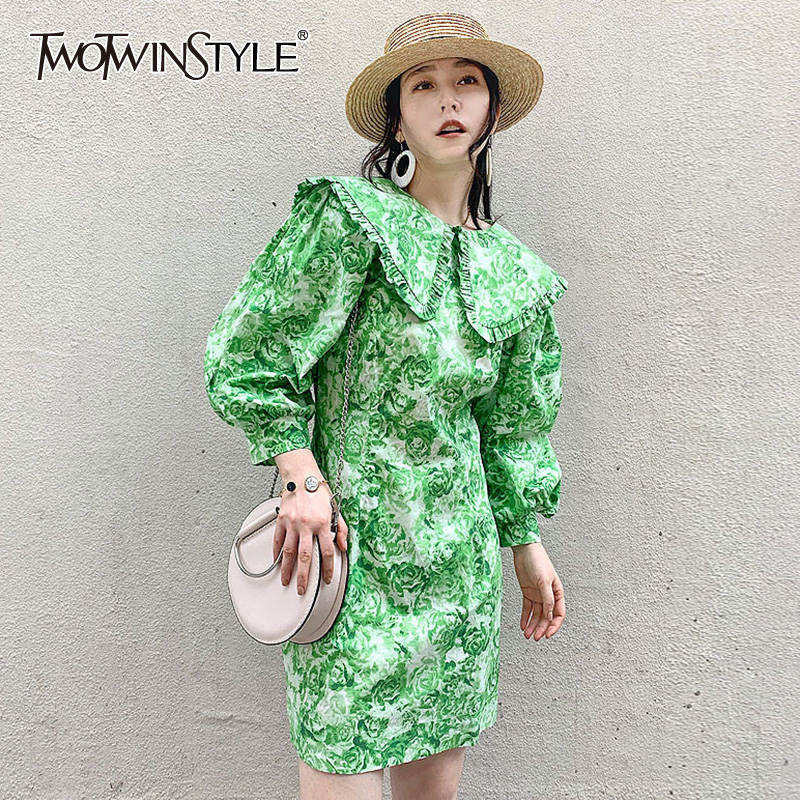 TWOTWINSTYLE Casual Print Women Dress O Neck Lantern Long Sleeve High Waist Hit Color Mini Dresses For Female Fashion 2020 Tide