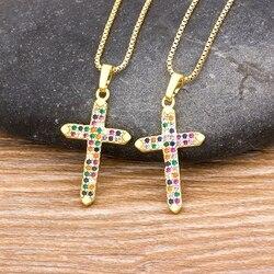 2020nowy projekt 10 style Rainbow krzyż miedziany żyrandol złoty łańcuch naszyjnik miedź cyrkon Choker naszyjniki biżuteria prezenty dla kobiet