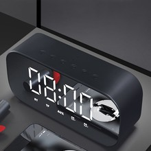 Bluetooth Speaker with FM Radio LED Mirror Alarm Clock Subwoofer Music Player Snooze Desktop Clock Wireless(China)