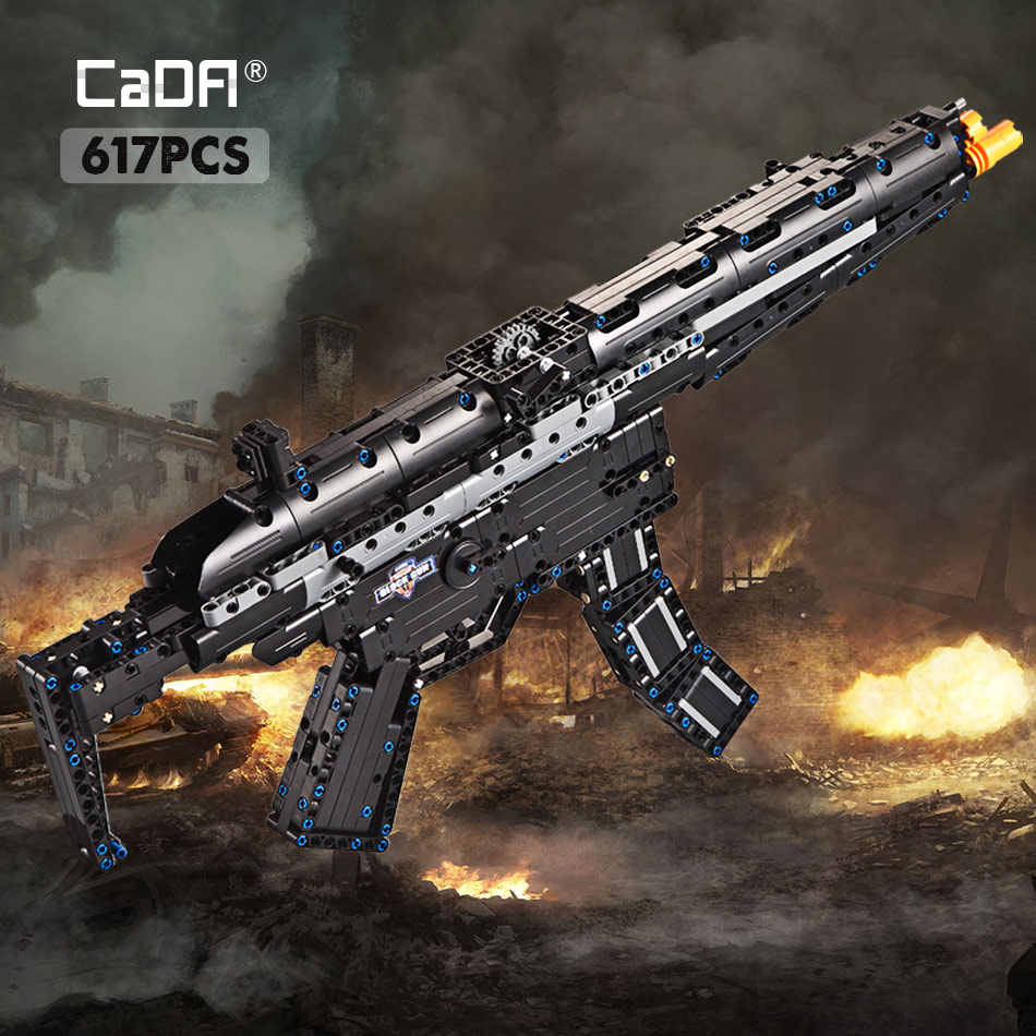 cada 617PCS Heckler Koch MP5 Submachine gun Model Building Blocks legoing Military city Technic gun bricks toys for kids