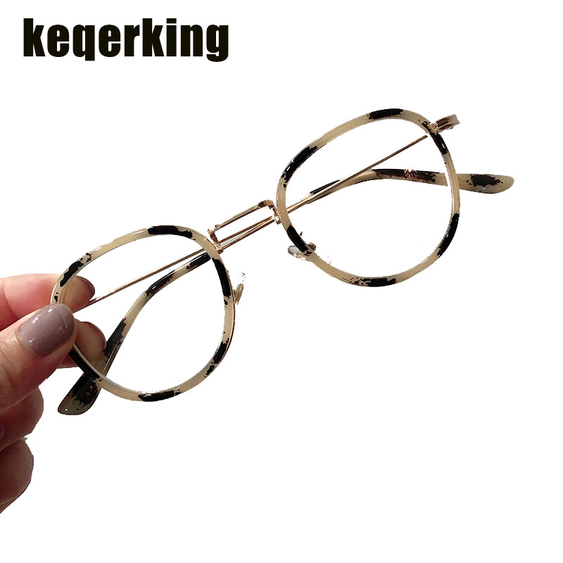 Retro College Wind Glasses Frame Oval Frame Metal Thin Legs Frame Glasses Flat Mirror Tide Temale Equipped Nearsighted Eyewear(China)