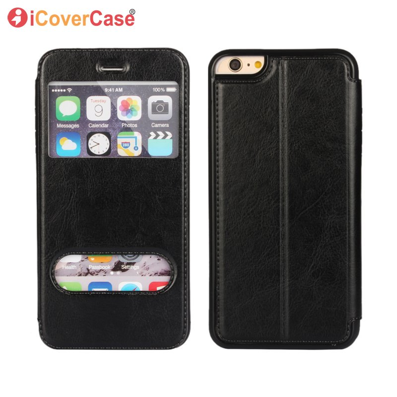 Handyhülle Für iPhone XS max XS XR X 8 7 6S 6 Plus 5 5S SE 2020 Abdeckung Handytasche Antwortfenster Ansicht Magnetic Flip Leather Coque