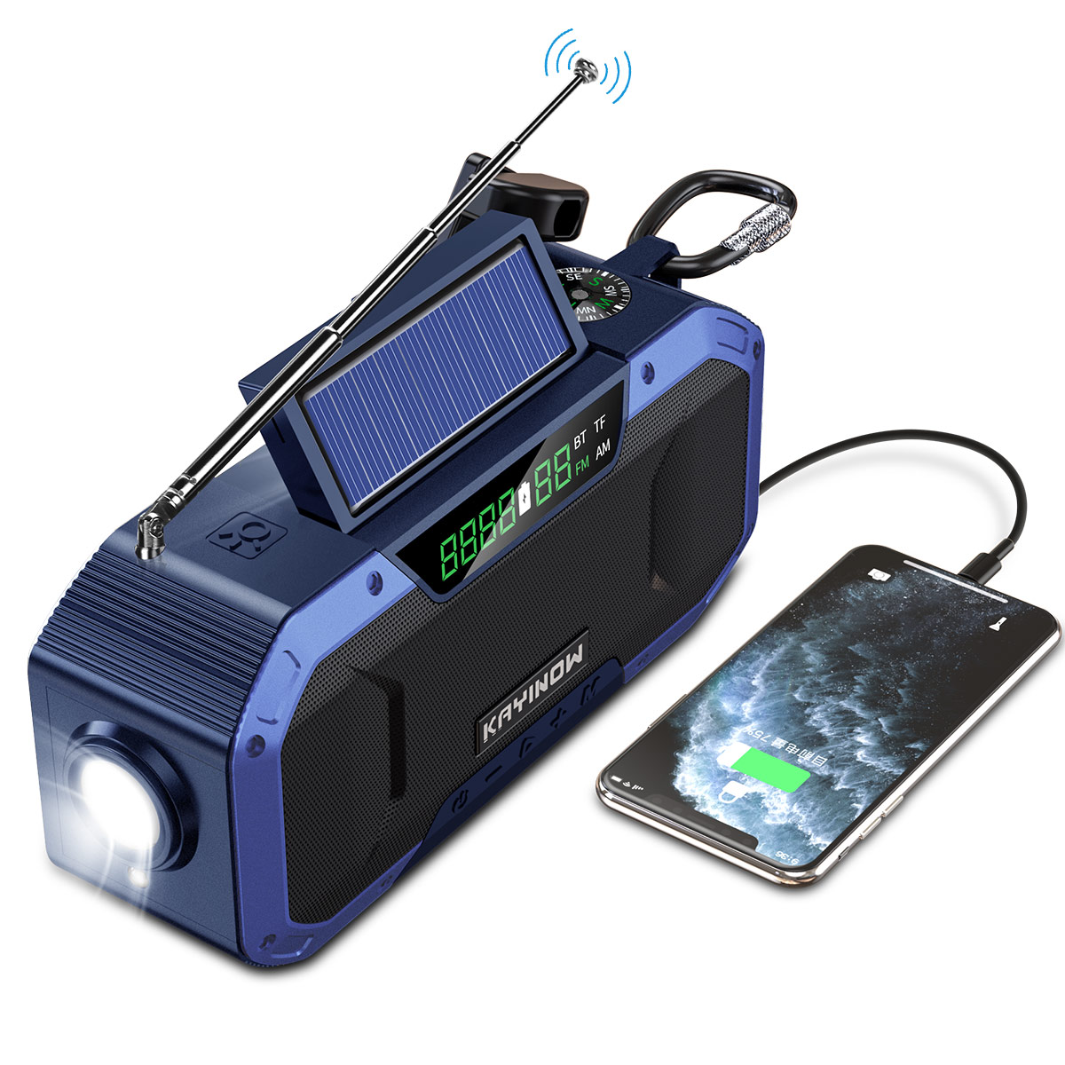 Solar & Hand Crank Bluetooth Speaker Radio with LED Flashlight Flash Lights & Head Lamps Lighting Gadgets