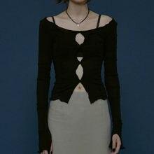 Camiseta calada Lisa sexi para mujer, camiseta de manga larga con cuello redondo, top informal de mujer para otoño y primavera 2020