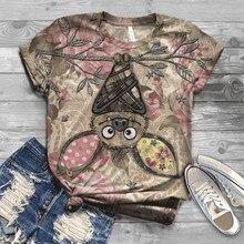 Fashion Tshirt Women Plus Size Short Sleeve 3D Animal Printed O-neck Tops
