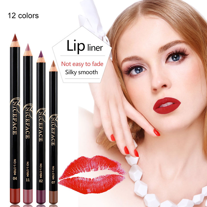 NEW 12 Colors Professional <font><b>Lip</b></font> Liner Matte <font><b>Lip</b></font> Pencil <font><b>Makeup</b></font> Waterproof Moisturizing <font><b>Lipsticks</b></font> Long-lasting <font><b>Set</b></font> image