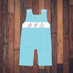 Image 1 - יילוד תינוק בגדי ילד בני בנות סרבל פסחא לפעוטות בני תלבושות ילדה אופנה ילדים Romper ילדי סתיו בגדים כחול
