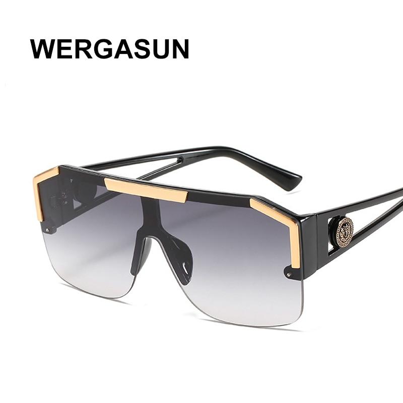 WERGASUN-gafas de sol cuadradas de gran tamaño para hombre y mujer, anteojos de sol unisex de diseño de marca, a la moda, estilo Vintage con UV400, 2020