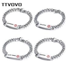 TTVOVO Medical Alert ID Bracelet Stainless Steel SOS Emergency Medical Bracelets Link Chain Bracelet Identification Jewelry Gift