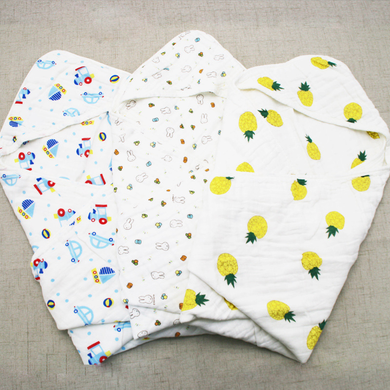 Six-layer Hooded Gauze Bath Towel Infant Cotton Yarn BABY'S BLANKET Newborns Wrapping Blanket Summer Pure Cotton Baby Gro-bag Bl