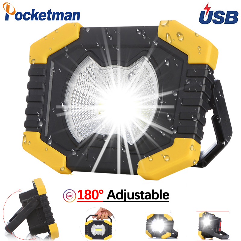 100W Protable Spotlight Work Light 180 Degrees Adjustable Lanterns With Built-in Battery  Rechargeable For Outdoor Camping
