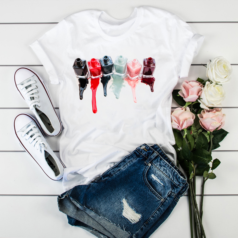 Women 2020 3D Print Beauty Watercolor Tops Paint Vogue Tshirts T Graphic Female Clothes Shirt Tee Womens Ladies T-Shirt Clothing
