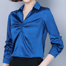 fashion Autumn women Silk Shirt satin plus size elegant woman V-neck blouse shirts womens tops and blouses