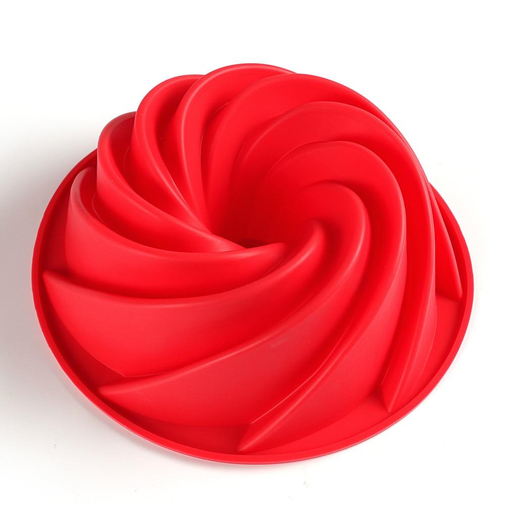 Large Spiral shape silicone Bundt Cake Pan 10- inch, Bread Bakeware Mold baking Tools Cyclone Shape Cake Mould DIY Baking Tool