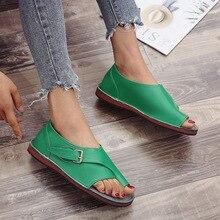 New Women PU Leather Sandals Fashion Peep Toe Buckle Design Roman Sandals Women Flat Shoes Summer Beach Sandals Sandalia