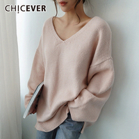 CHICEVER Korean Knitted Women's Sweater V Neck Long Sleeve Oversized Pullover Female Sweaters 2019 Autumn Fashion New Clothing