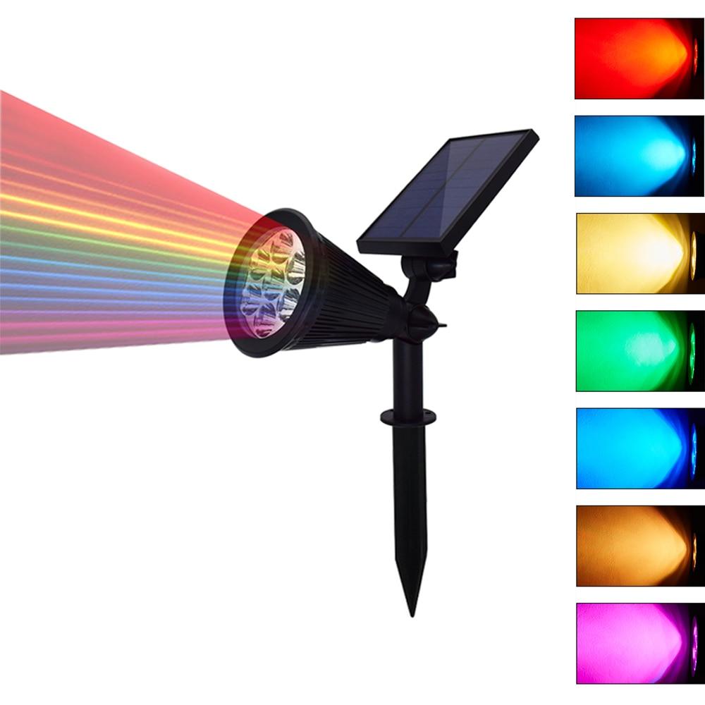 LED Solar Garden Light Spotlight Auto Change 7 Colors Solar Light Outdoor For Yard Patio Lawn Lighting Waterproof 1PCS