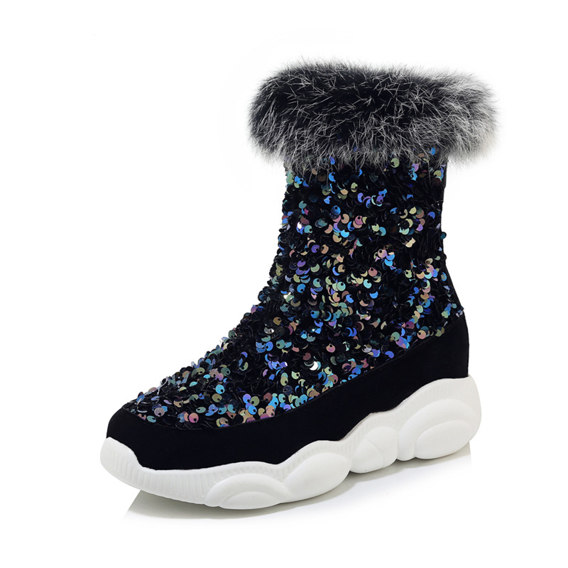 MORAZORA 2020 Large size 33-46 winter keep warm snow boots 3 colors square toe women shoes comfortable flat heel ankle boots 47