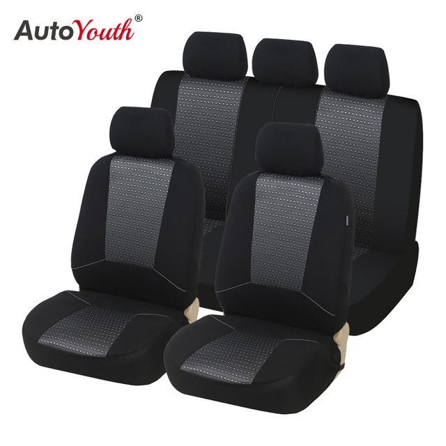 Airbag Compatible Gray flatcloth, Full Set Autonise Universal fit Classic Sport Bucket seat Cover Fit Most Car,Truck, SUV, or Van with headrest