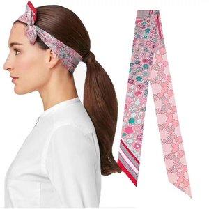 Image 3 - Headband Women Small Ribbon Multi function Fashion Lady 100% Silk Riband Scarves Handbag Scarf  Female Clothing Match Bandeaus