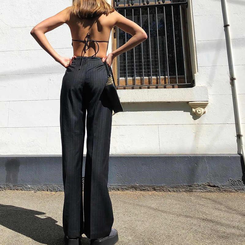 JIEZuoFang Halter mujer mono rayas para mujer Blazer ajustado espalda descubierta encaje Combinaison Femme cubierta pierna mameluco gótico
