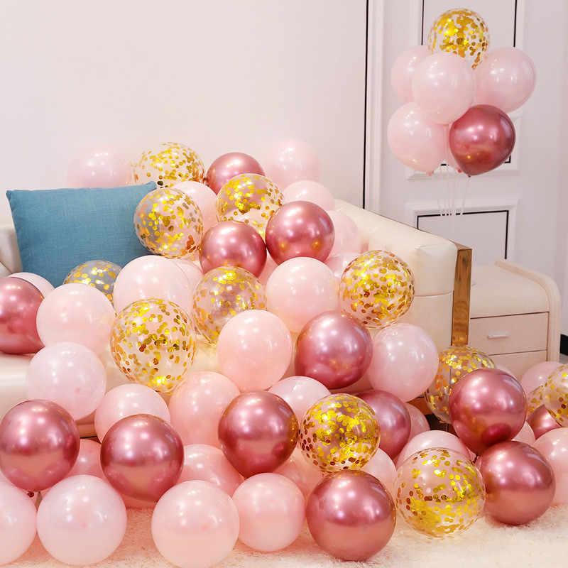 Ouro preto látex confetes balões arco decorações de casamento metal hélio ballon suporte decorações da festa de aniversário adulto crianças brinquedo