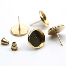 12mm Stud Earring Round Gold Plated glass cabochon Cameo Base Earring Setting Supplies for Jewelry 20pcs/lot