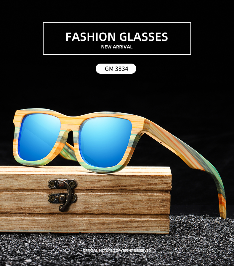 GM Fashion Multi-Colour Stained Bamboo Wood Sunglasses
