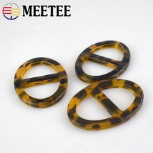 Meetee 5pcs/10pcs 27mm Resin O Ring  Belt Scarf Buckle DIY Garment Underwear Leopard Decoration Sewing Accessories BD276