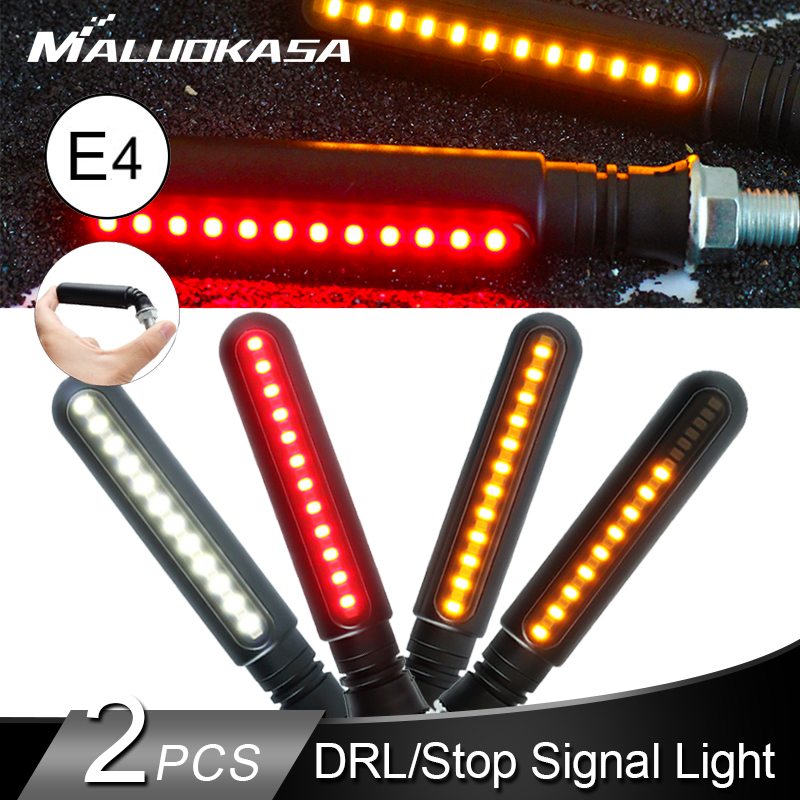 2PCS LED Turn Signals For Motorcycle E4 Flowing Flashing Lights Stop Signals Tail Indicator/Running Light DRL Flasher For Honda