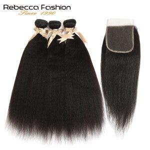 Tissage en lot brésilien Remy Yaki-Rebecca | Cheveux naturels, lisses, avec Closure, 3 lots