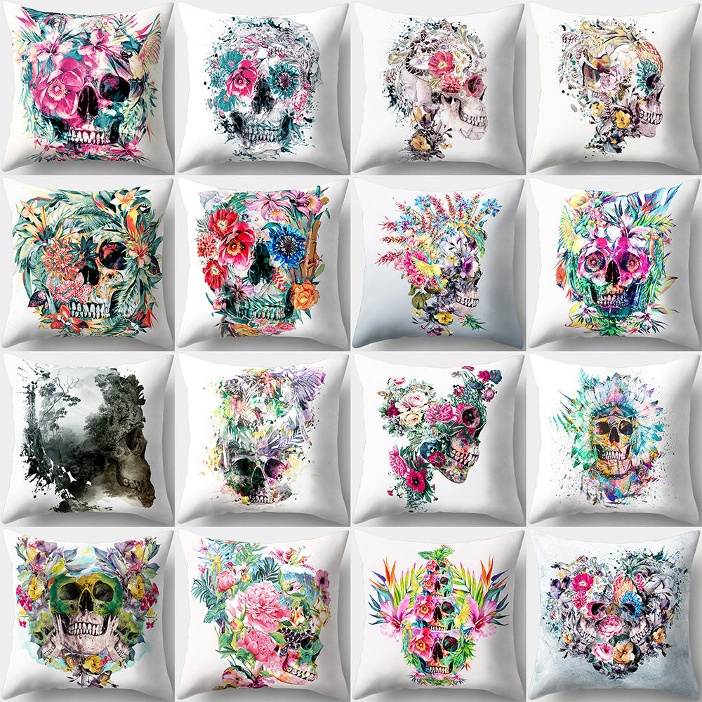 Cushion Cover 45*45 Skull Printed Sofa Cushions Office Pillow Cases Polyester Home Decor Pillow Covers Kd-0123