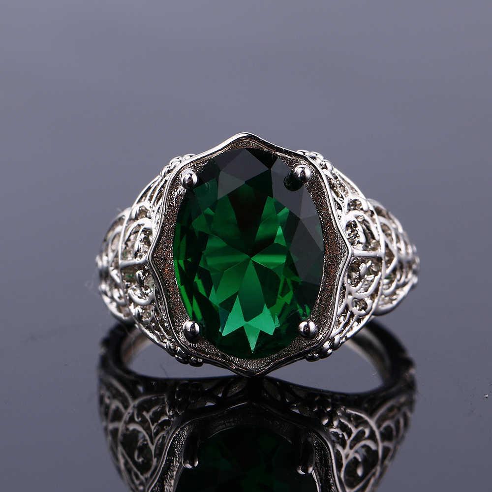 Luxury 100% 925 เงินสเตอร์ลิงแหวนเครื่องประดับสำหรับงานแต่งงานของผู้หญิงหมั้นอุปกรณ์เสริม 10X14 มม.Topaz อัญมณีแหวน