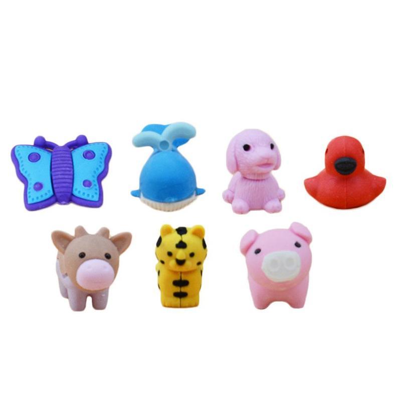 10pcs/lot Cute Cartoon Animal Erasers Novelty Different Kawaii Animal Erasers Set Panda / Tiger / Elephant Shape Stationery