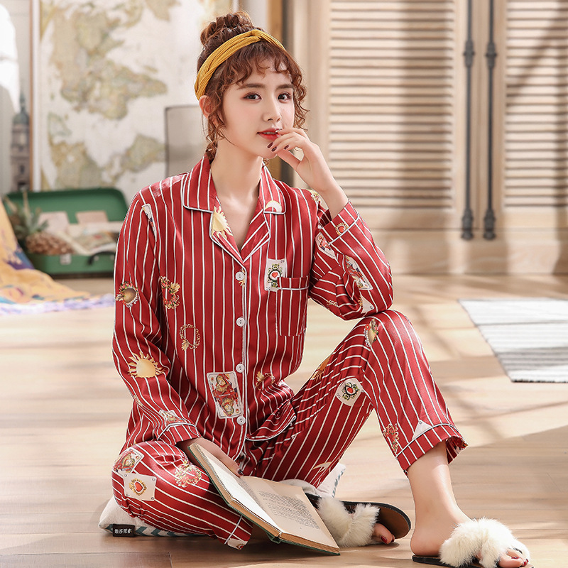 Yongxing Spring And Autumn Long-sleeved Cardigan Pajamas Two-Piece Set Stripes Women's Loose-Fit Fold-down Collar Model Silk Hom