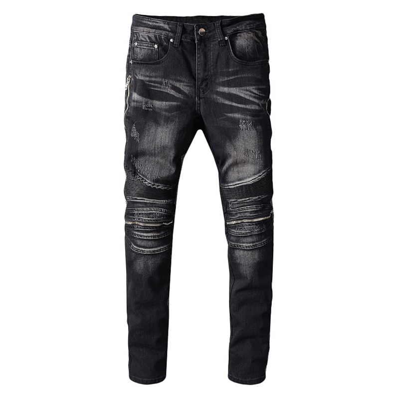 Sokotoo Men's PU Leather Patchwork Biker Jeans For Motorcycle Slim Skinny Zippers Black Stretch Denim Pants