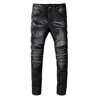 Sokotoo Men's PU leather patchwork biker jeans for motorcycle Slim skinny zippers black stretch denim pants