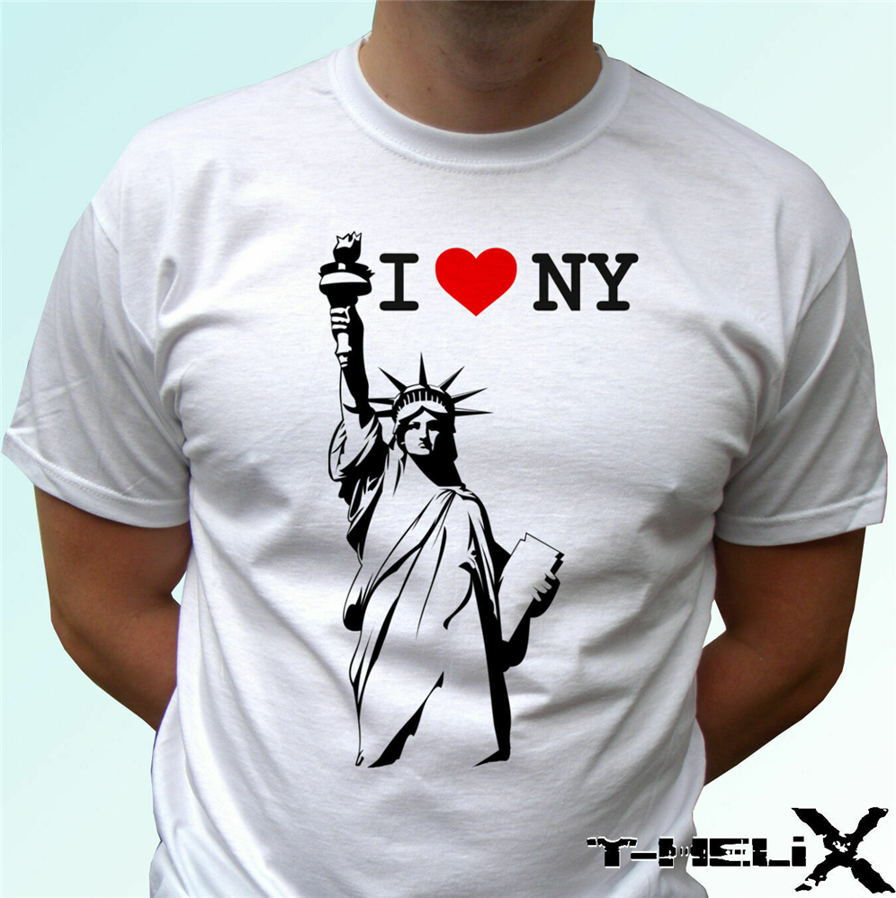 <font><b>I</b></font> <font><b>Love</b></font> New York White T <font><b>Shirt</b></font> Top Usa <font><b>Ny</b></font> Men'S T <font><b>Shirt</b></font> Size S - 3Xl More Size And Colors Tee <font><b>Shirt</b></font> image