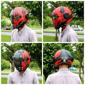 Image 3 - SOMAN Iron Man Helmet Flip Up Motorcycle Helmet Robot Style Motor Bike Casco Monster Casque DOT Approval SM515 Cool Helmets 515