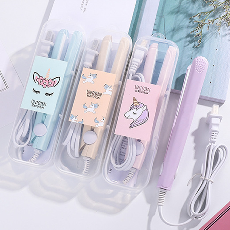 2019 New Mini Hair Straightener Flat Iron Curling Hair Beard Straightener Comb Hair Crimper Curling Iron Hair Straightener Brush