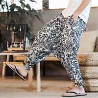 2019 Sinicism Man Cotton Linen Wide Leg Pants Men's Joggers Hip Hop Harem Pants Streetwear Sweatpants Trousers Casual S 3XL