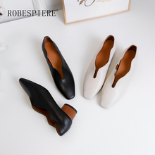 ROBESPIERE New Quality Cow Leather Pumps Spring Autumn Round Heel Party Shallow Shoes Woman Square Toe Deep V Design A23