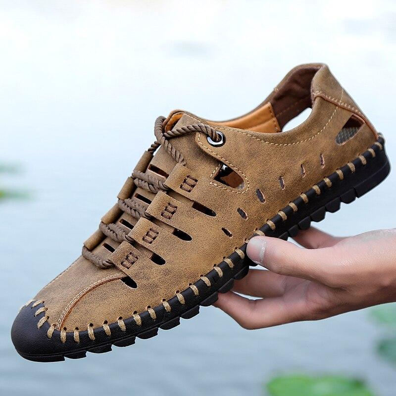 クリアランス男性の靴メンズサンダル夏高品質革カジュアルシューズ男性ビーチサンダル Sandalias Hombre プラスサイズ 48