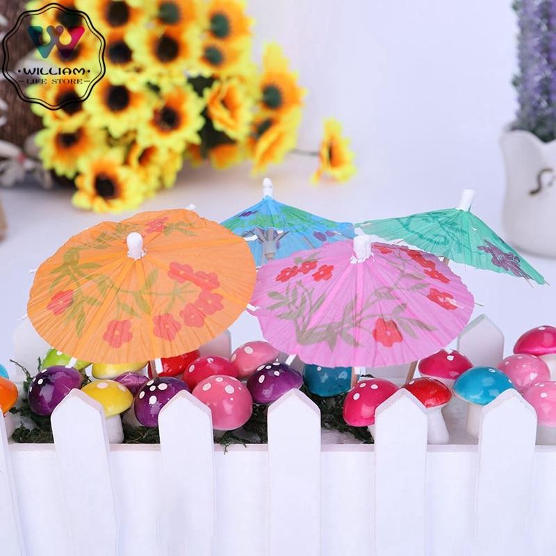 50pcs/set Umbrella Bamboo Stick Form Fruit Fork Cocktail Decorative Garnishes Snack Cakes Fruit Sign 10 cm Long Random Color(China)