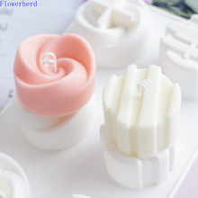 Rose Flower Cylindrical 6-hole Handmade Soap Mold Aromatherapy Candle DIY Silicone Mold Candle Making Supplies Soap Form