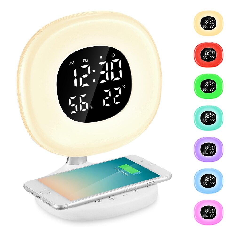 LED Wake-up Light Sunrise Alarm Clock Wireless Charging Snooze Clock With 8 Alarm Sounds Bedside Simulator For Bedroom