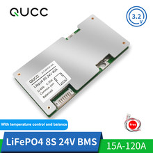 Qucc Lifepo4 BMS 8S 24V Lithium Battery Protection Board 18650 Balancer Electric Scooter Equalizer 15A 20A 30A 40A 60A 100A 120A