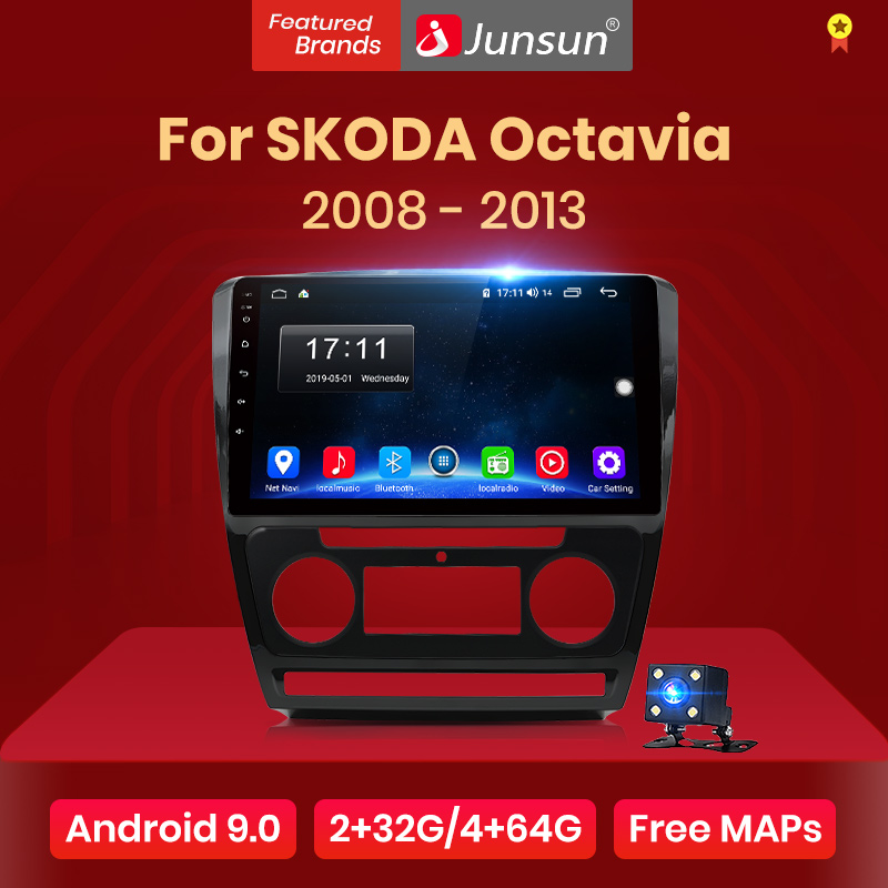 Junsun 2G + 32G Android 9,0 4G coche Radio Video Multimedia reproductor de Audio GPS de navegación para SKODA Octavia 2 2008-2013 A5 2Din SIN DVD